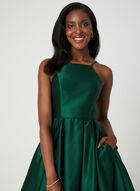 Satin Fit & Flare Dress, Green, hi-res
