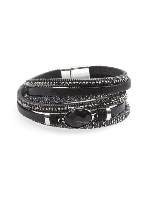 Bracelet multi-rang similicuir et métallisé, Noir, hi-res