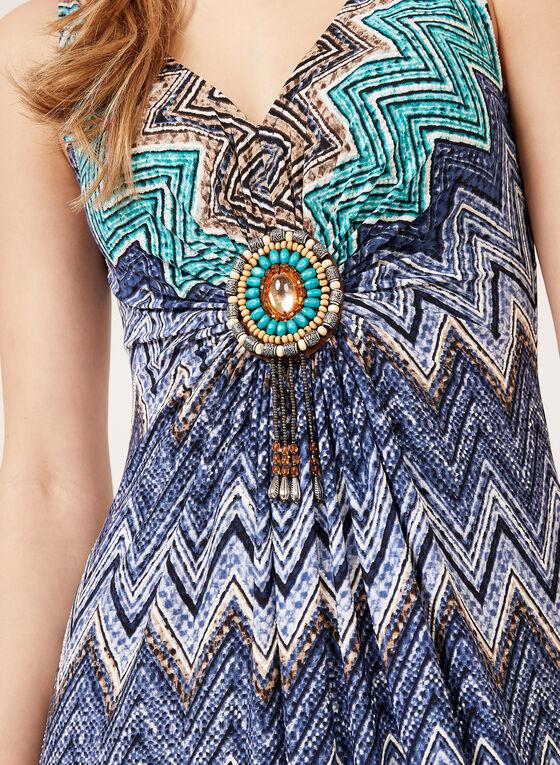 Robe maxi à imprimé chevrons et détail médaillon, Bleu, hi-res
