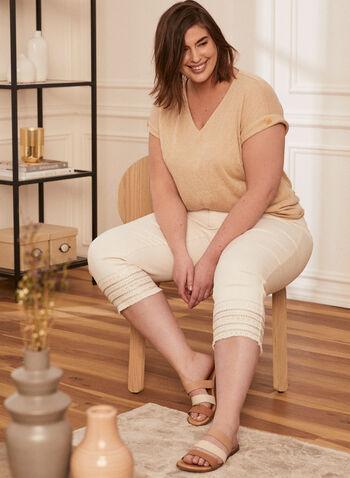 Ruched Sleeve Linen-Like Top, Off White,  top, linen, short sleeves, v-neck, spring summer 2020