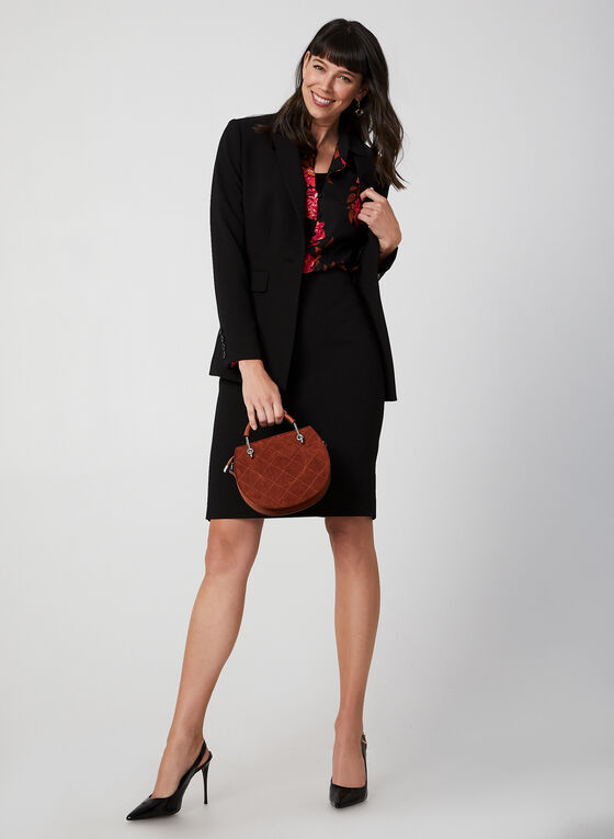 One Button Notch Collar Blazer, Black