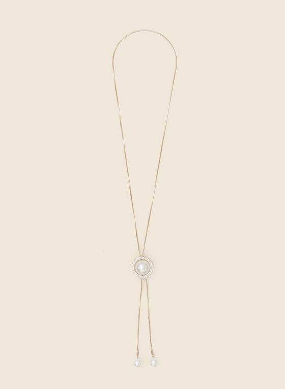 Pearl & Crystal Bolo Necklace, Off White