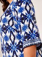 Robe droite à motif ikat, Bleu, hi-res