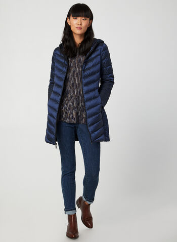 BCBGeneration - Packable Coat, Blue, hi-res,  fall winter 2019, down, feathers, quilted, long sleeves