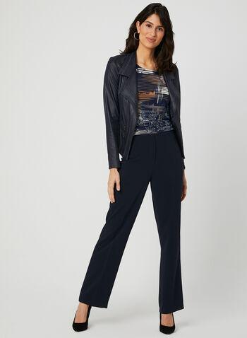 Louben - Pantalon coupe signature à jambe large, Bleu, hi-res,