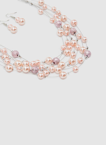 Pearl Necklace & Earring Set, Pink, hi-res