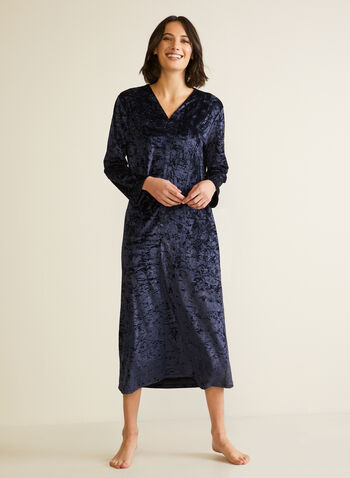 Crushed Velvet Nightgown, Blue,  fall winter 2020, sleepwear, pyjamas, caftan, nightgown, nightshirt, velvet, made in canada