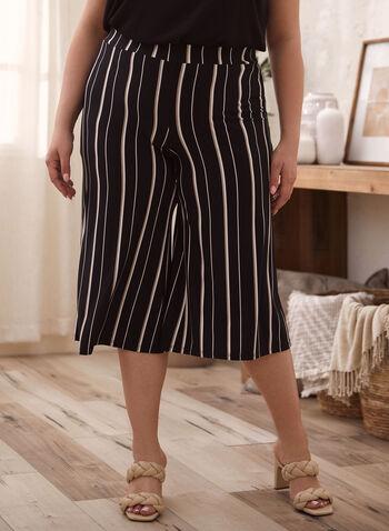 Pantalon gaucho à rayures, Noir,  capri, pantalon, gaucho, jambe large, à enfiler, puu-on, rayures, motif, imprimé, fait au Canada, printemps été 2021