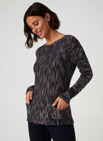 Pull en tricot à manches longues, Bleu, hi-res,  chandail en tricot