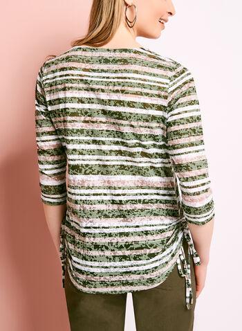 Stripe Print Side Tie Top, , hi-res