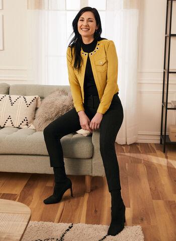 Pantalon coupe cité à jambe droite, Noir,  taille mi-haute, ceinture contour, extensible, printemps été 2020