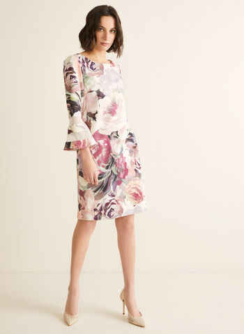 Floral Print Bell Sleeve Dress, Pink,  dress, floral, scoop neck, 3/4 sleeves, bell sleeves, stretchy, crepe, spring summer 2020