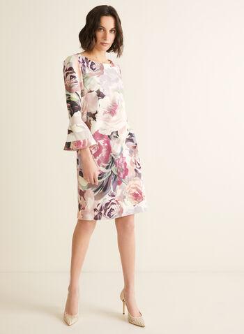 Robe fleurie à manches cloche, Rose,  robe cocktail, fleurs, manches cloche, crêpe, maille filet, printemps été 2020