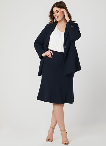 Panelled A Line Skirt, Blue,