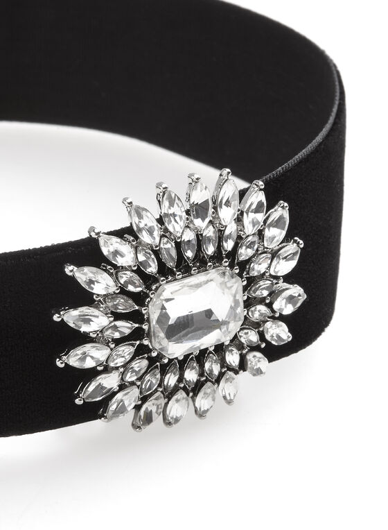 Velvet & Crystal Choker Necklace, Black, hi-res
