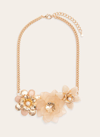 Flower Cluster Chain Necklace, Gold, hi-res
