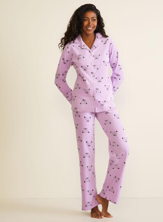Animal Print Microfleece Pyjama Set, Purple
