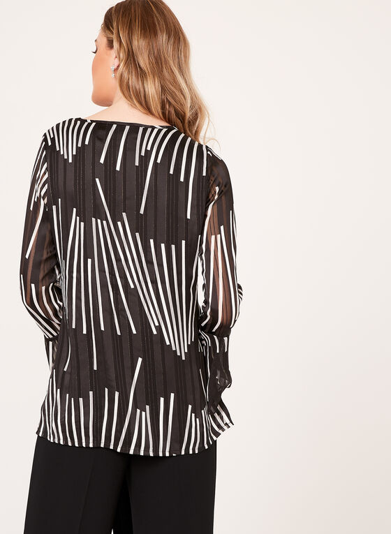 Abstract Print Chiffon Top , Black, hi-res