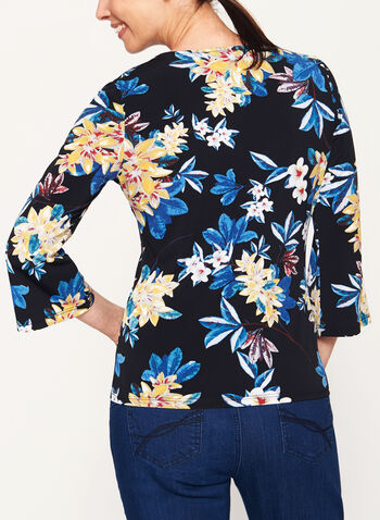 Jersey Floral Print ¾ Bell Sleeve Top , Black, hi-res