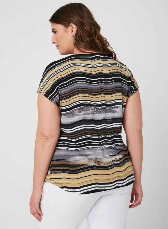 Stripe Print Tassel Detail Top, Black, hi-res