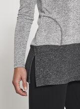 Colour Block Melange Tunic Sweater, Grey, hi-res