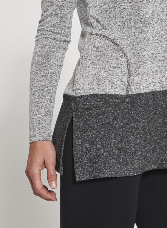 Colour Block Melange Tunic Sweater, Grey, hi-res