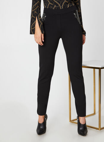 Pleather Leggings, Black,  pants, leggings, pleather, elastic, ponte de roma, straight leg, fall 2019, winter 2019
