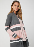 Stripe Print Open Front Cardigan, Grey