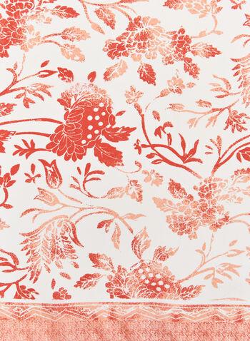 Monochromatic Floral Print Scarf, Orange, hi-res