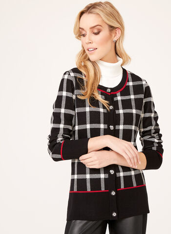 Plaid Print Double Knit Cardigan, , hi-res