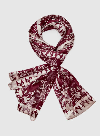 Abstract Print Scarf, Purple, hi-res