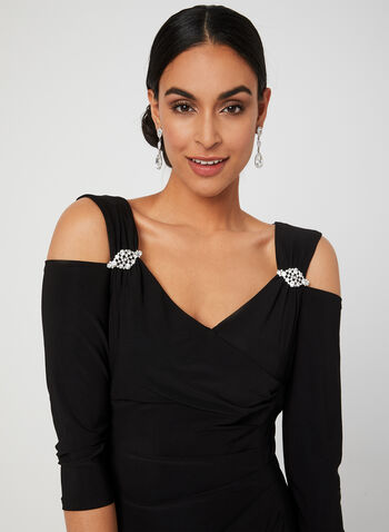 Brooch Detail Cold Shoulder Dress, Black, hi-res