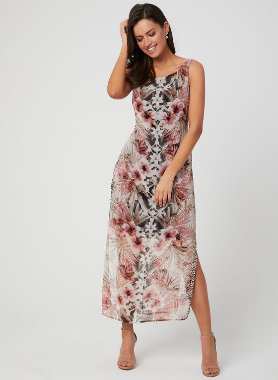 Robe à imprimé floral et léopard, Brun, hi-res
