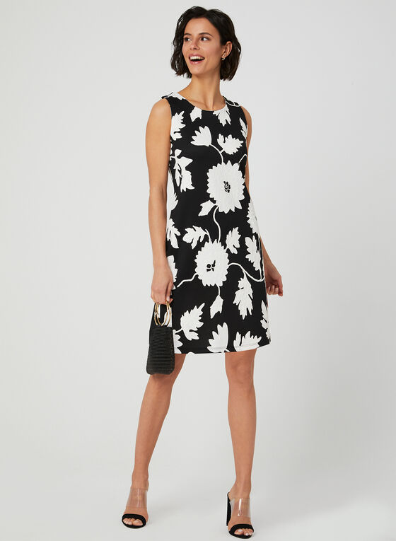 Robe en néoprène à imprimé floral, Noir, hi-res