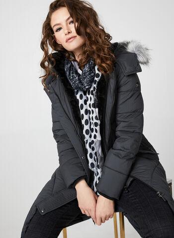 Bernardo - Manteau mi-long en duvet végane, Gris,  manteau, mi-long, manches longues, duvet végane, zip, fausse fourrure, capuchon, automne hiver 2019