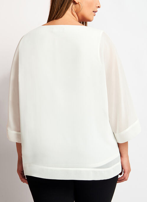 3/4 Sleeve Poncho Blouse, Off White, hi-res