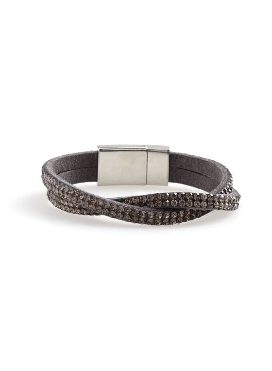 Crystal Encrusted Wrap Bracelet, Grey, hi-res