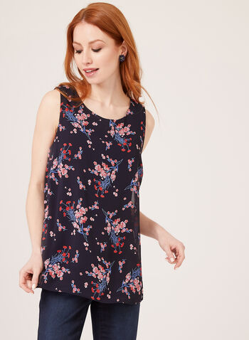 Sleeveless Floral Print Blouse, Blue, hi-res