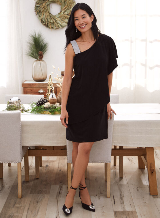 Rhinestone Strap Ruffle Dress, Black