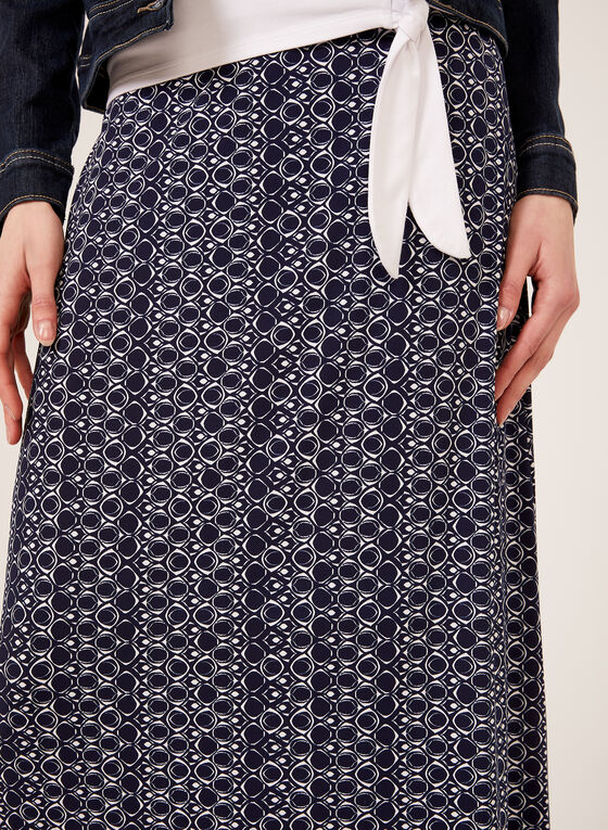 Geometric Print Pull-On Maxi Skirt , Blue, hi-res