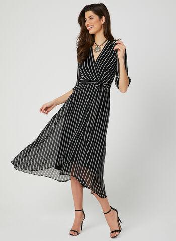 Stripe Print Faux Wrap Dress, Black, hi-res