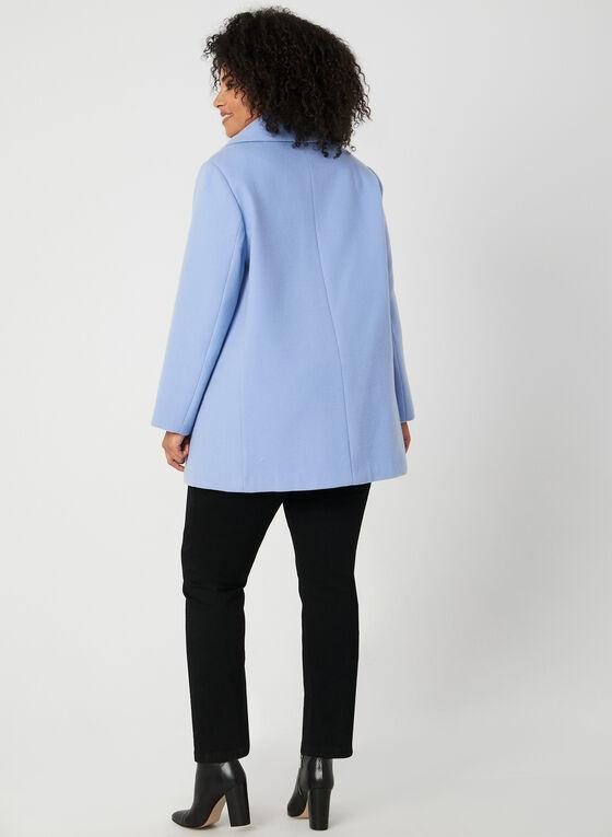 Oversized Collar Wool-Like Coat, Blue