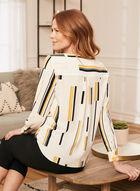 Line Print Wrap Front Blouse, White