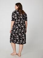 Bellina - Floral Print Nightgown, Black