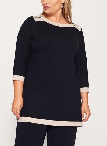 Pull en tricot à col bateau et détails couture, Noir, hi-res