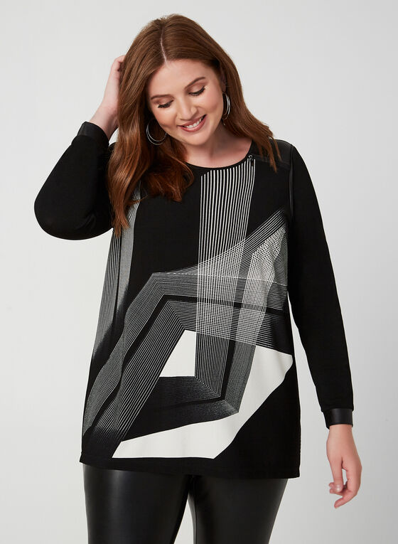 Geometric Print Tunic Top, Black