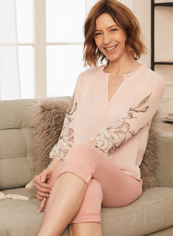 Floral Detail Flutter Sleeve Blouse, Pink,  top, blouse, chiffon, layered. elbow sleeves, 3/4, floral, v-neck, shirred, spring summer 2021