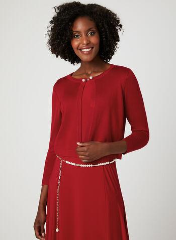 Nina Leonard – Pearl Clasp Knit Bolero, Red, hi-res