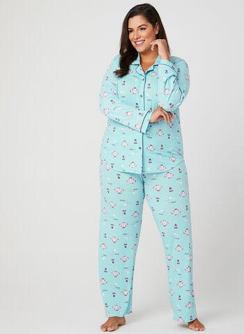 Claudel Lingerie - Ensemble pyjama à motif hivernal, Bleu, hi-res