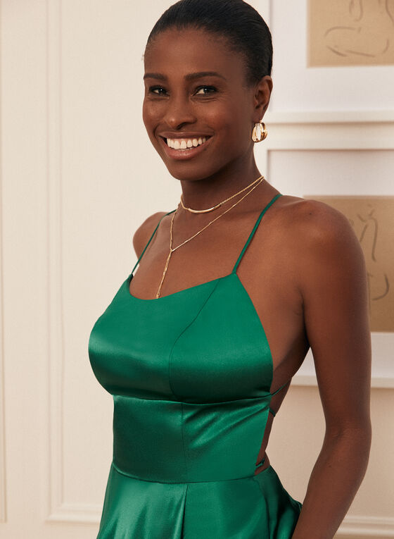 A-Line Satin Dress, Green